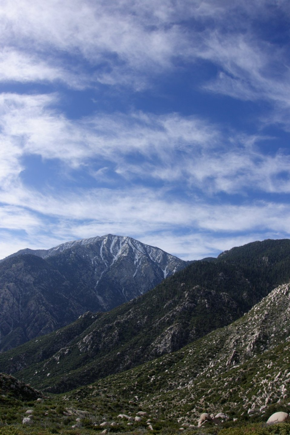 Coming from the wonderful town of Idyllwild after being stuck there for two days due to back pain. We climb in elevation and reach the forested areas with snow covered mountain peaks. I also learn that if there is a mountain, we're most likely going over it.