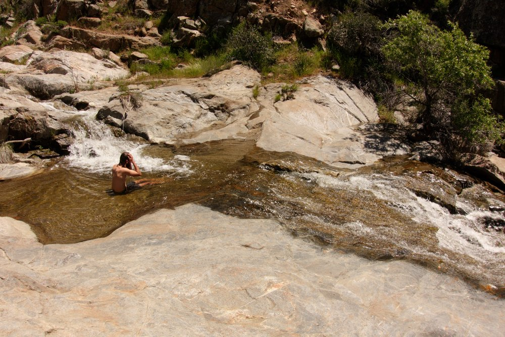 We spend hours cooling off at Kitchen Creek Falls after a few days of walking.