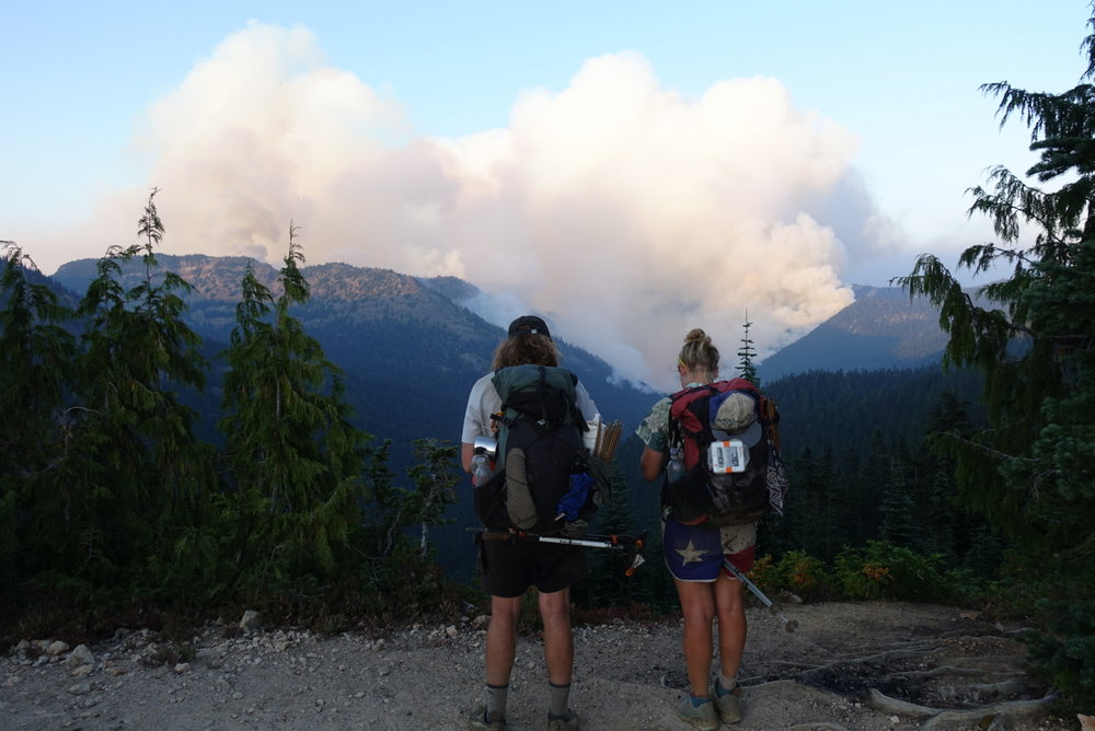 Simba and Pingaling looking out over the raging Norse Peak fire.