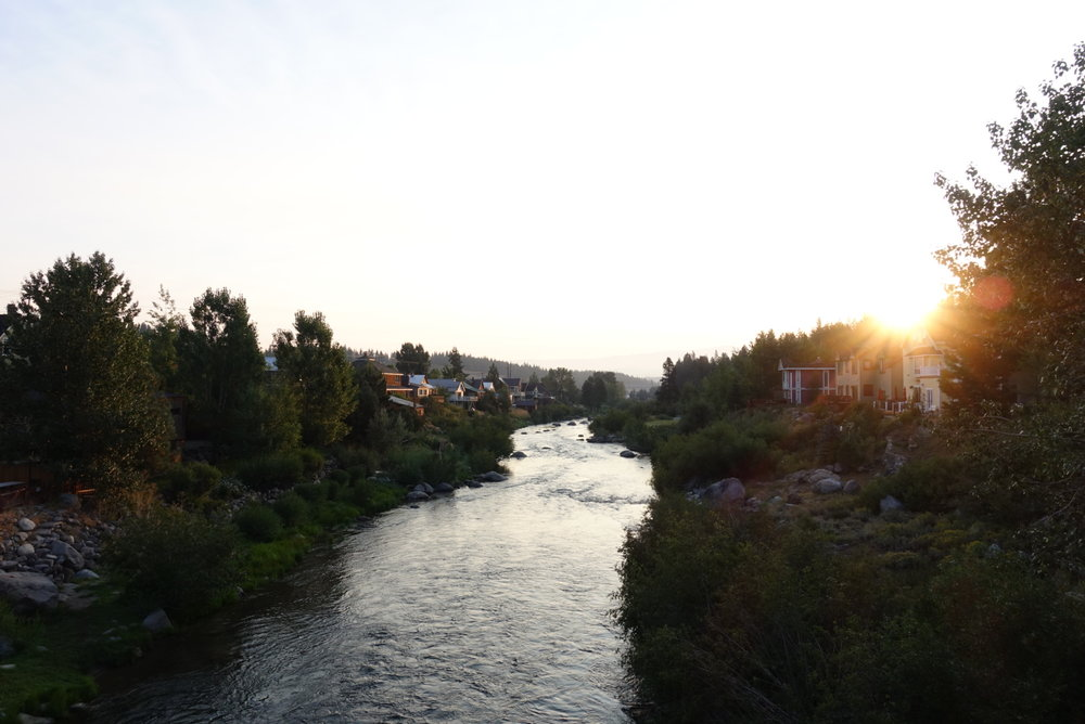 Sunrise over the Truckee river.